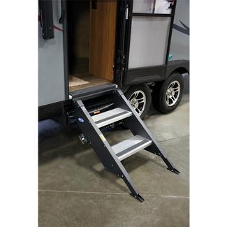 Rv steps parts camper trailer steps folding steps for Motorized rv entry steps