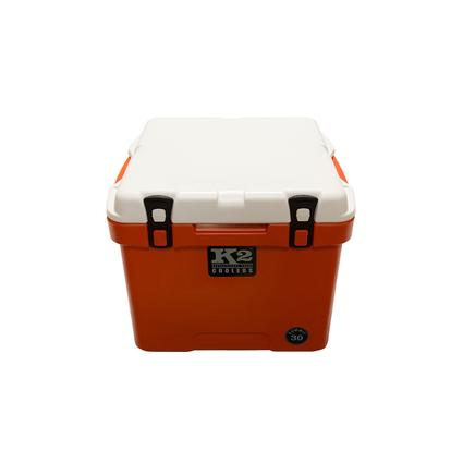 K2 Summit 30 Quart Cooler, Orange Base and White Lid