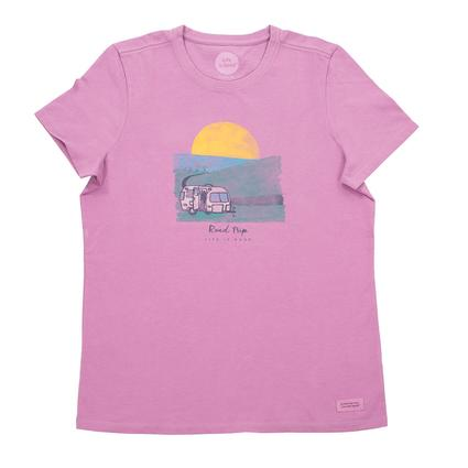Women's Life is Good, Road Trip Tee, Orchid, L