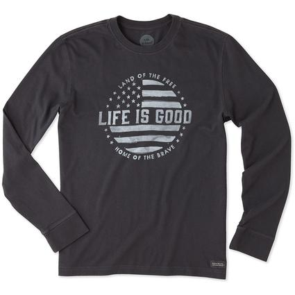 Life is Good Men's Long Sleeve Land of the Free Crusher Tee, XLarge