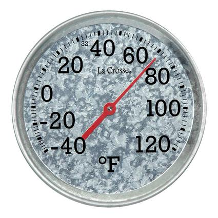 Galvanized Metal 8 Round Thermometer