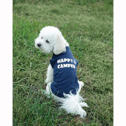 Happy Camper Pet Tee Shirt, Navy, Small