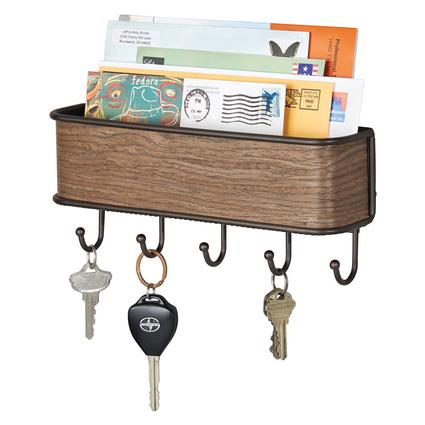 RealWood Wall Mount Mail Center Key Rack, Walnut