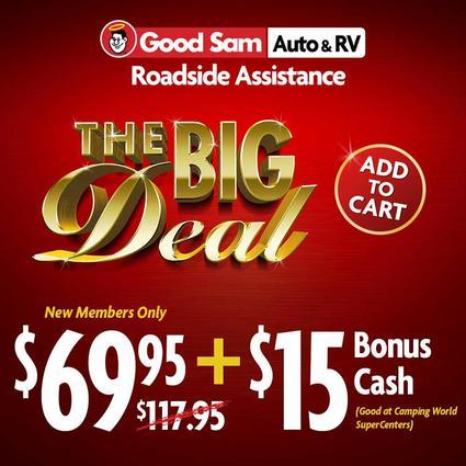 1 Year of Good Sam Roadside Assistance PLUS $15 Bonus Cash
