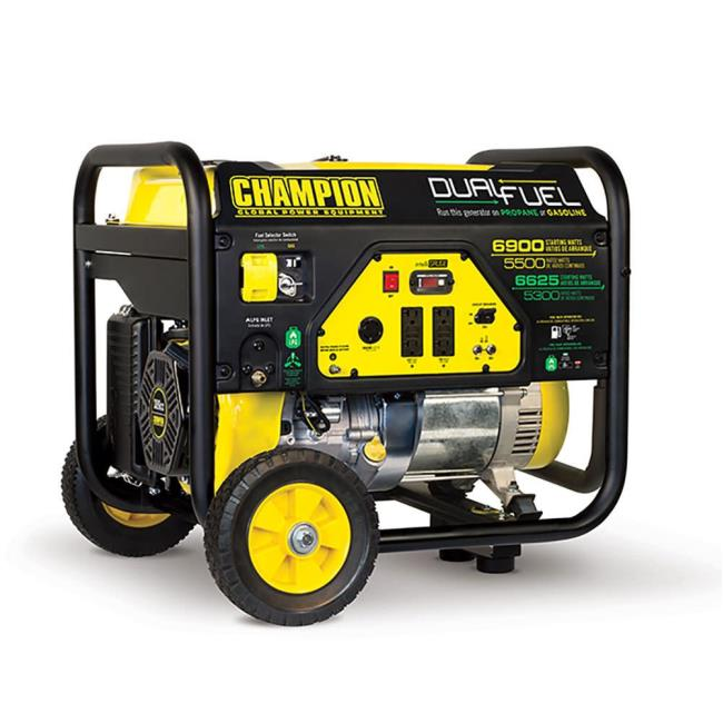 Champion 5500 Watt Dual Fuel RV Ready Portable Generator with Wheel ...