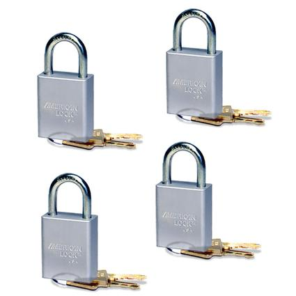 4-Pack Quick Disconnect Padlocks, Keyed Alike