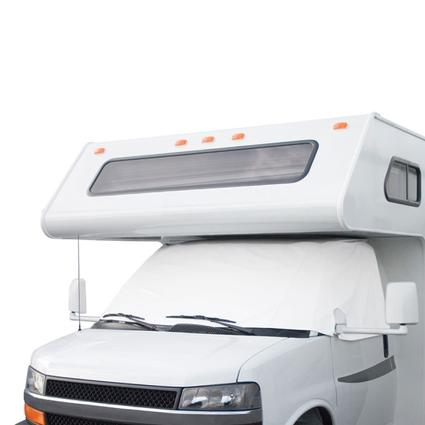 RV Windshield Cover with Cutouts - White, Ford, 2004-current