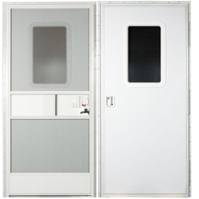 Image Replacement RV Entrance Doors Polar White Square Corner Door Right Hand - 24 . & Replacement RV Entrance Doors-24\