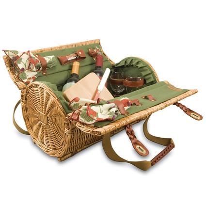 Verona Picnic Basket- Pine Green w/Nouveau Grape