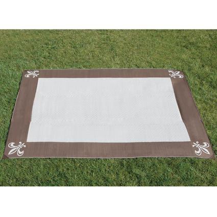 Reversible Fleur de Lis Patio Mat 9' x 12' - Brown/Stone