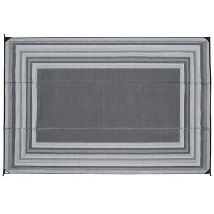Patio Mat, Polypropylene, Striped Design, 9x12, Gray
