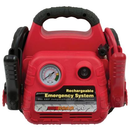 Rechargeable Emergency System with 12-Volt Power Port and Air Compressor