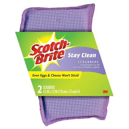 Scotch-Brite Stay Clean Scrubber, 2 Pack