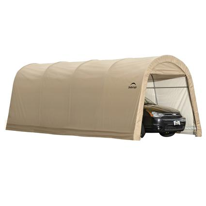 Auto Shelter 10 x 20 x 8 Round Style, Sandstone Cover