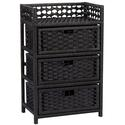 Black Paper Rope 3 Drawer Chest