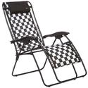 Black White Checkered Padded Recliner