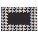 Reversible Patio Mats, 6' x 9' Honeycomb Design Black/Gray/Tan