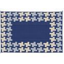 Reversible Patio Mats, 6' x 9' Honeycomb Design Navy/Gray/Tan