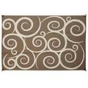 Reversible Patio Mats, 6' x 9' Swirl Design Brown/Cream