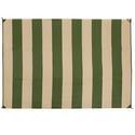 Reversible Patio Mats, Basic Stripe 6' x 9', Dark Green/Tan