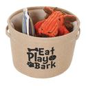 Eat, Play, Bark, Burlap Storage Baskets, Small