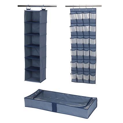 3-Piece Closet Storage Set, Blue