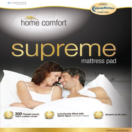 Short Queen Home Comfort Mattress Pad