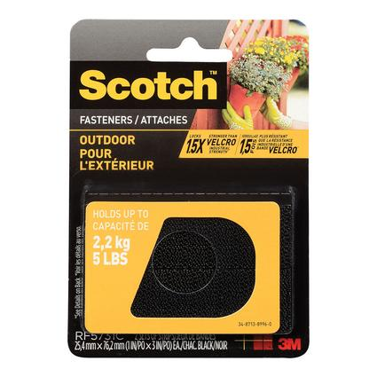 Scotch Outdoor Fasteners, 1 x 3, Black, Set of 2