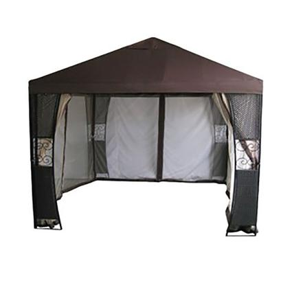 10' x 10' Steel Gazebo with Mosquito Net and Wicker Posts