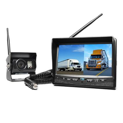 Wireless Backup Camera System - Dual Screen Monitor with Cigarette Lighter Adaptor