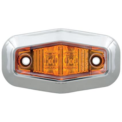 Mini Sealed LED Clearance/Marker Light; Amber; w/ Chrome Trim Ring