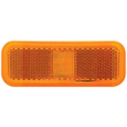 Rectangular LED Clearance/Marker Light 2 Diode White Base Two Wire Amber