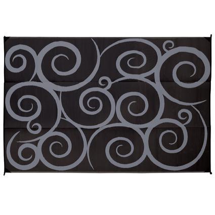 Patio Mat, Polypropylene, Swirl Design, 9x12, Black/Gray