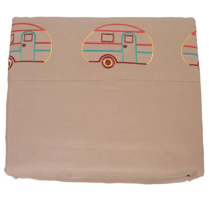 Microfiber Camping Theme Sheets, Taupe with Vintage RV, Bunk