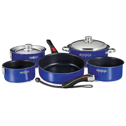 Stainless Steel Nesting RV Induction Cookware, 10 Piece Set, Blue