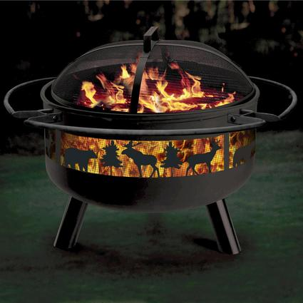 Big Game Solid-Steel Fire Pit/Grill Combo