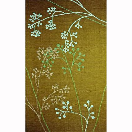 b.b.begonia Patio Mat, Polypropylene, Blossoms Design, 4x6, Green