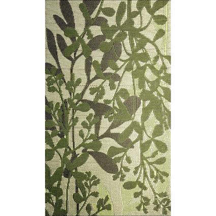 b.b.begonia Patio Mat, Polypropylene, Leaves Design, 4x6, Green/Brown