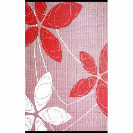 Patio Mat, Polypropylene, Floral Motif Design, 5x8, Red/White