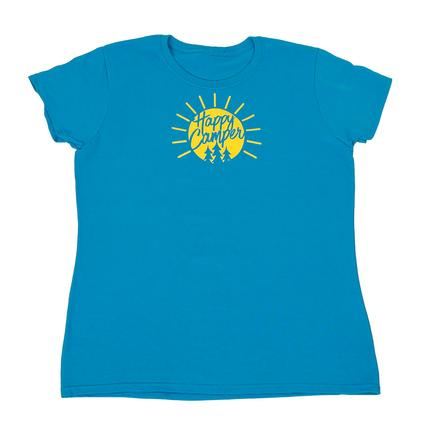 Women's Happy Camper Tee, Sapphire Large