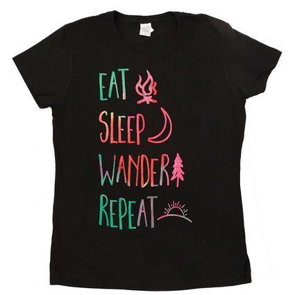 Women's Eat Sleep Wander Tee, Black Large