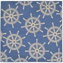 Blue Shipwheel Marine Square Rug, 94