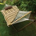 Cotton Rope Hammock, Stand, Pad, and Pillow Combination, Green