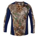 Realtree Men's Long Sleeve Active Tee, Navy, XL