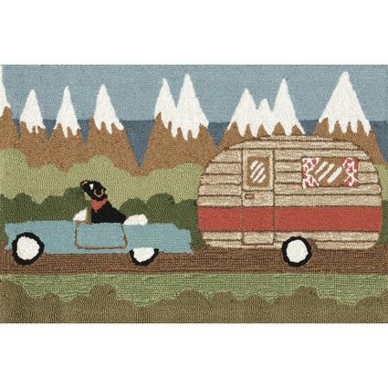 Green Camping Dog Rug, 24