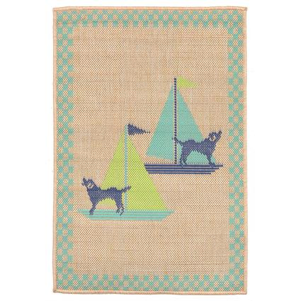 Cool Blue Sailing Dogs Rug, 23