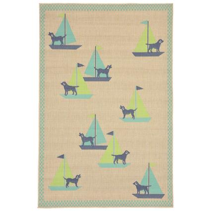 Cool Blue Sailing Dogs Rug, 39