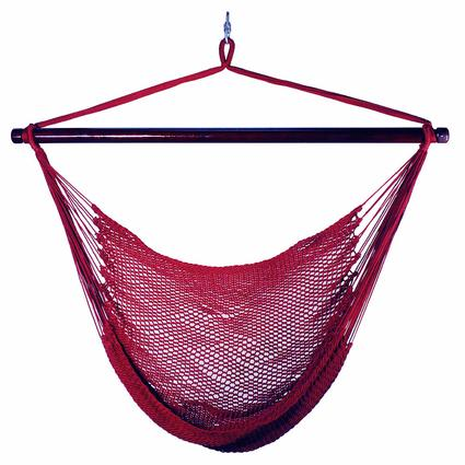 Hanging Caribbean Rope Chair, Red