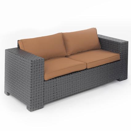 Portable Outdoor Wicker Love Seat - Cocoa, 72