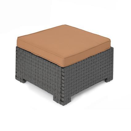 Portable Outdoor Wicker Ottoman, Cocoa